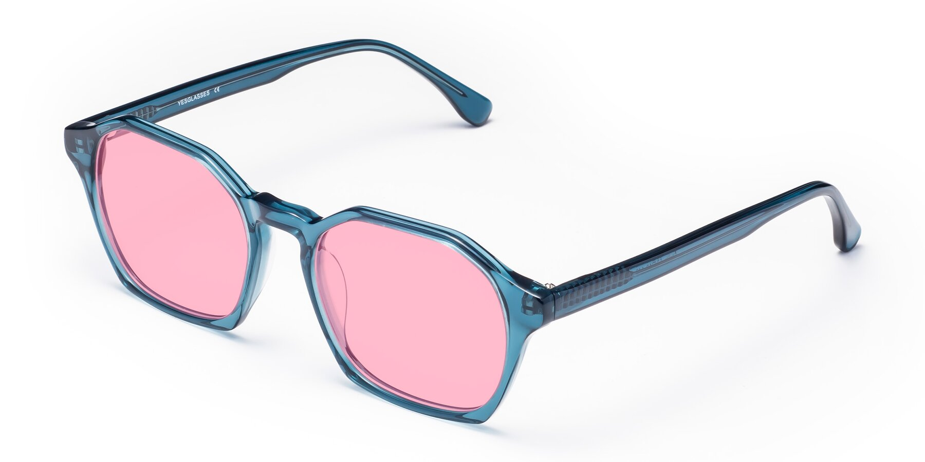 Angle of Stoltz in Ink Blue with Medium Pink Tinted Lenses