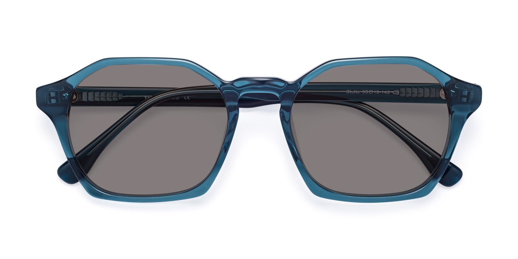 Folded Front of Stoltz in Ink Blue with Medium Gray Tinted Lenses