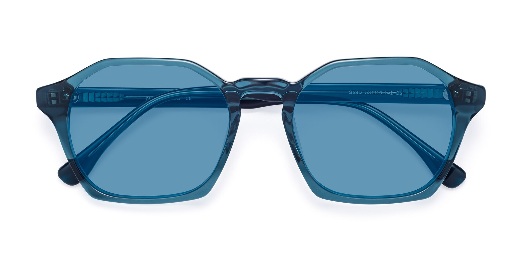 Folded Front of Stoltz in Ink Blue with Medium Blue Tinted Lenses