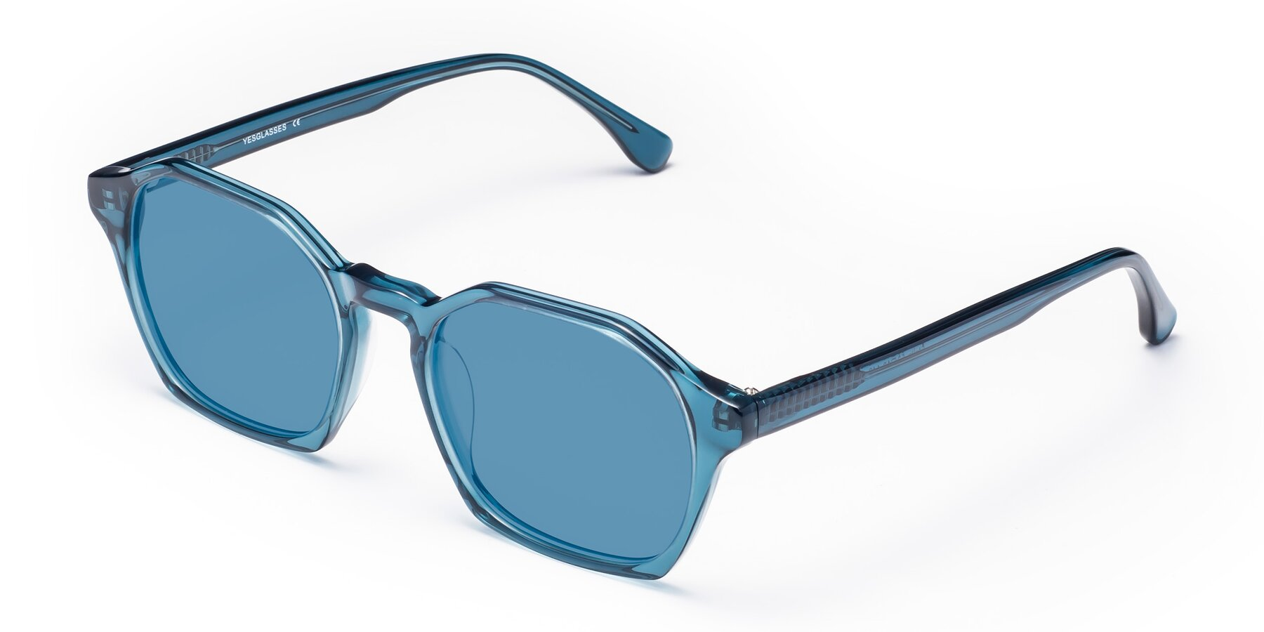 Angle of Stoltz in Ink Blue with Medium Blue Tinted Lenses