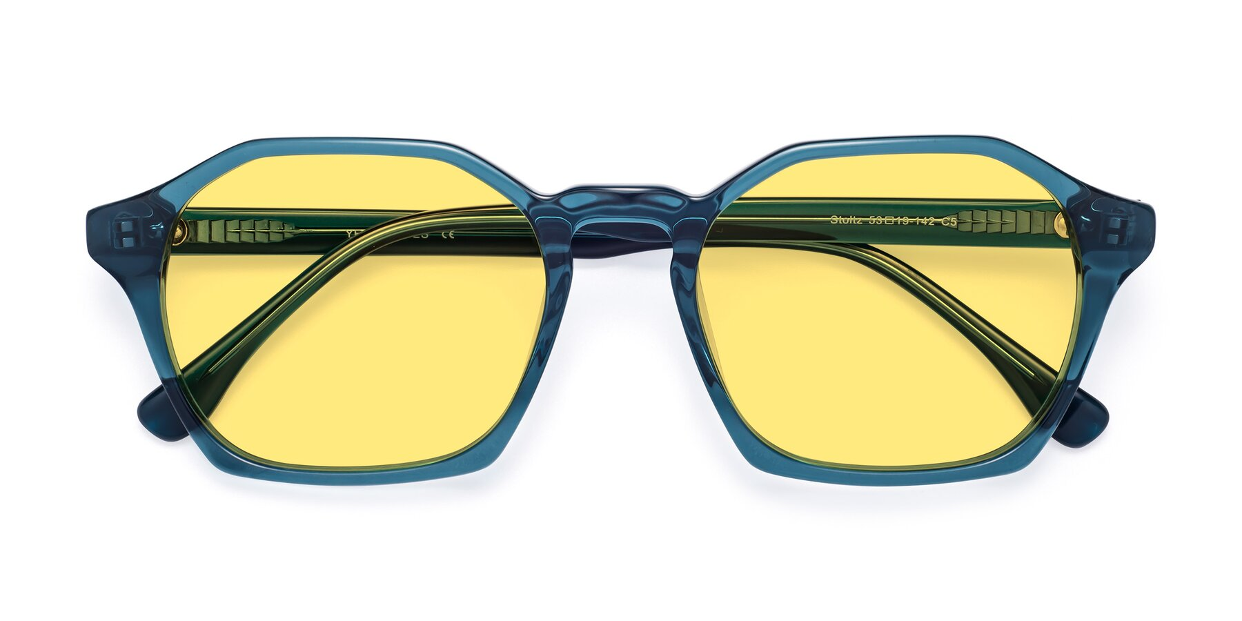 Folded Front of Stoltz in Ink Blue with Medium Yellow Tinted Lenses