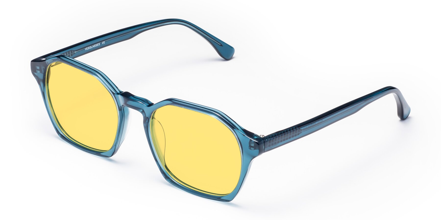 Angle of Stoltz in Ink Blue with Medium Yellow Tinted Lenses