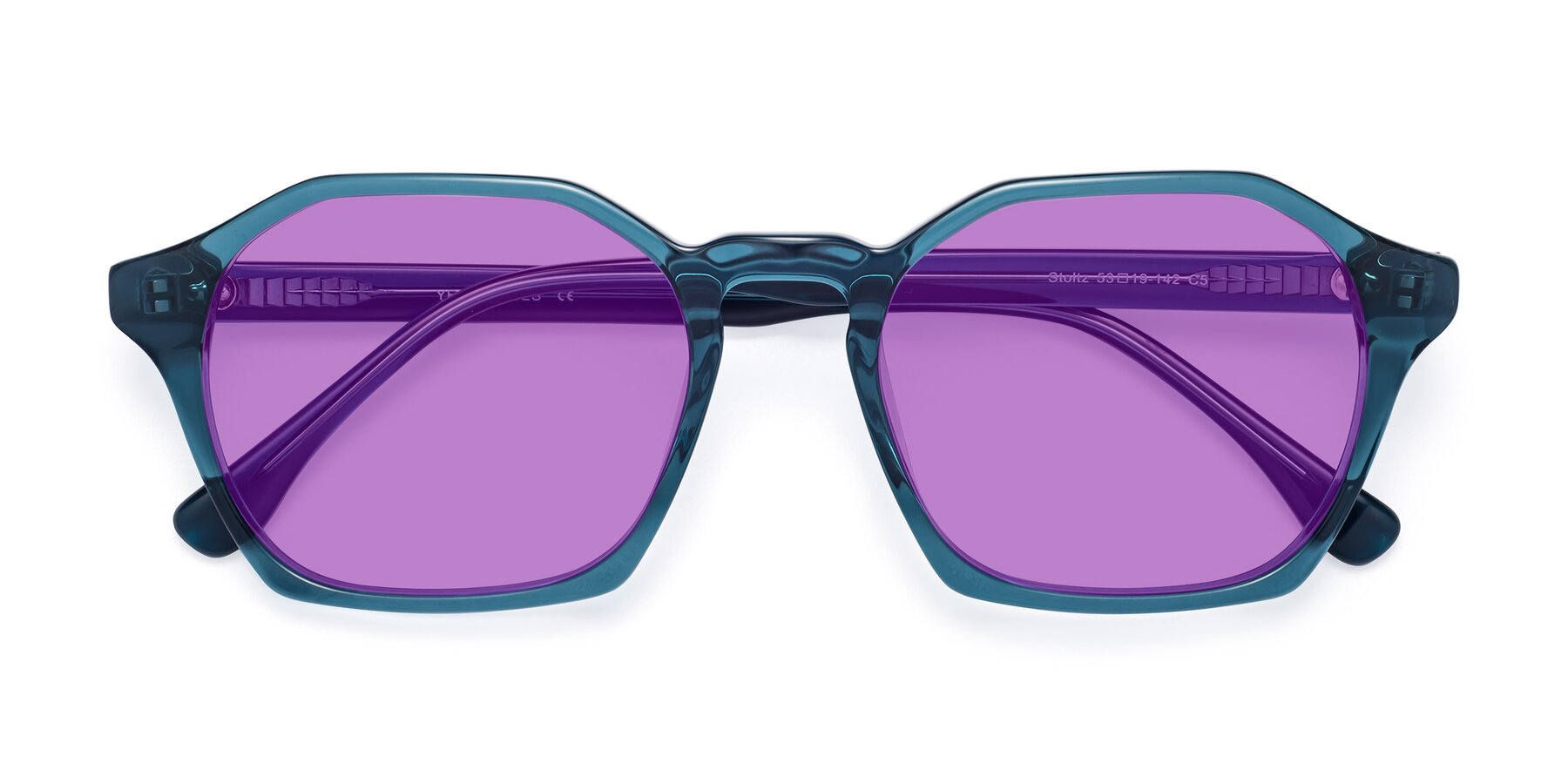 Folded Front of Stoltz in Ink Blue with Medium Purple Tinted Lenses
