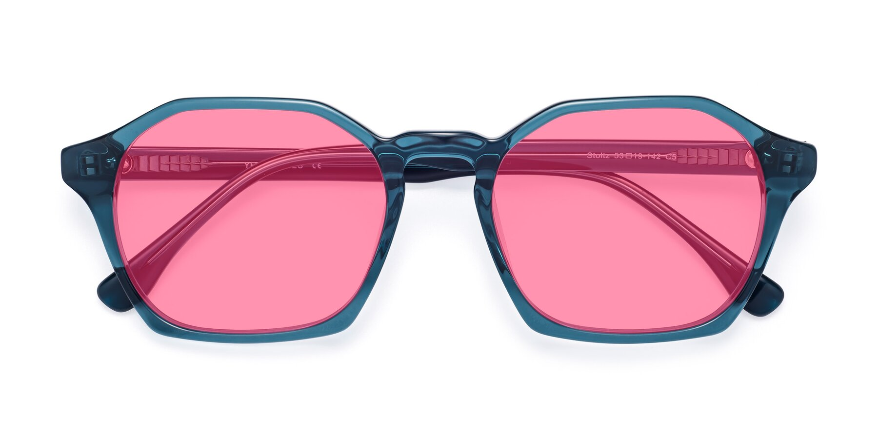Folded Front of Stoltz in Ink Blue with Pink Tinted Lenses