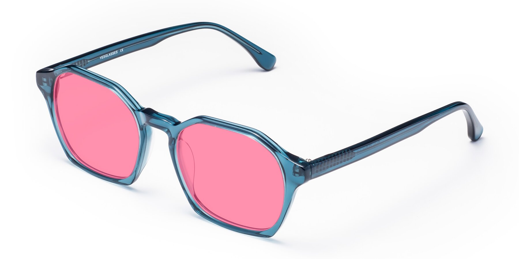 Angle of Stoltz in Ink Blue with Pink Tinted Lenses