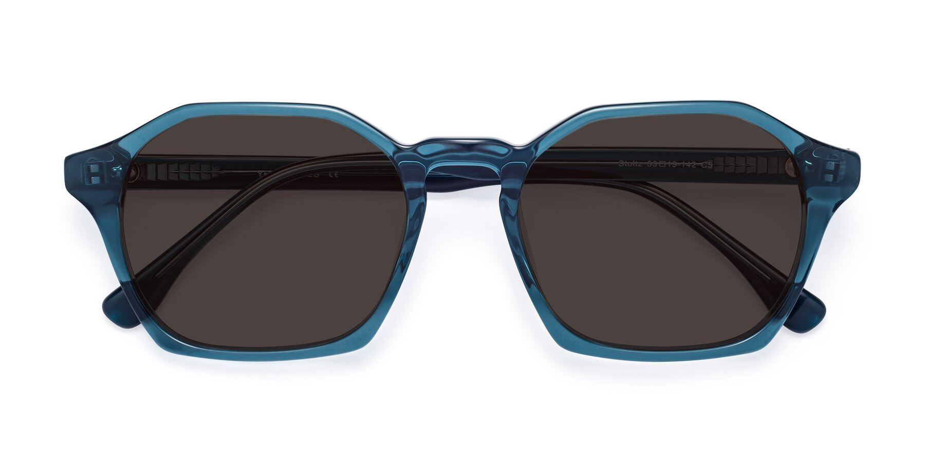 Folded Front of Stoltz in Ink Blue with Gray Tinted Lenses