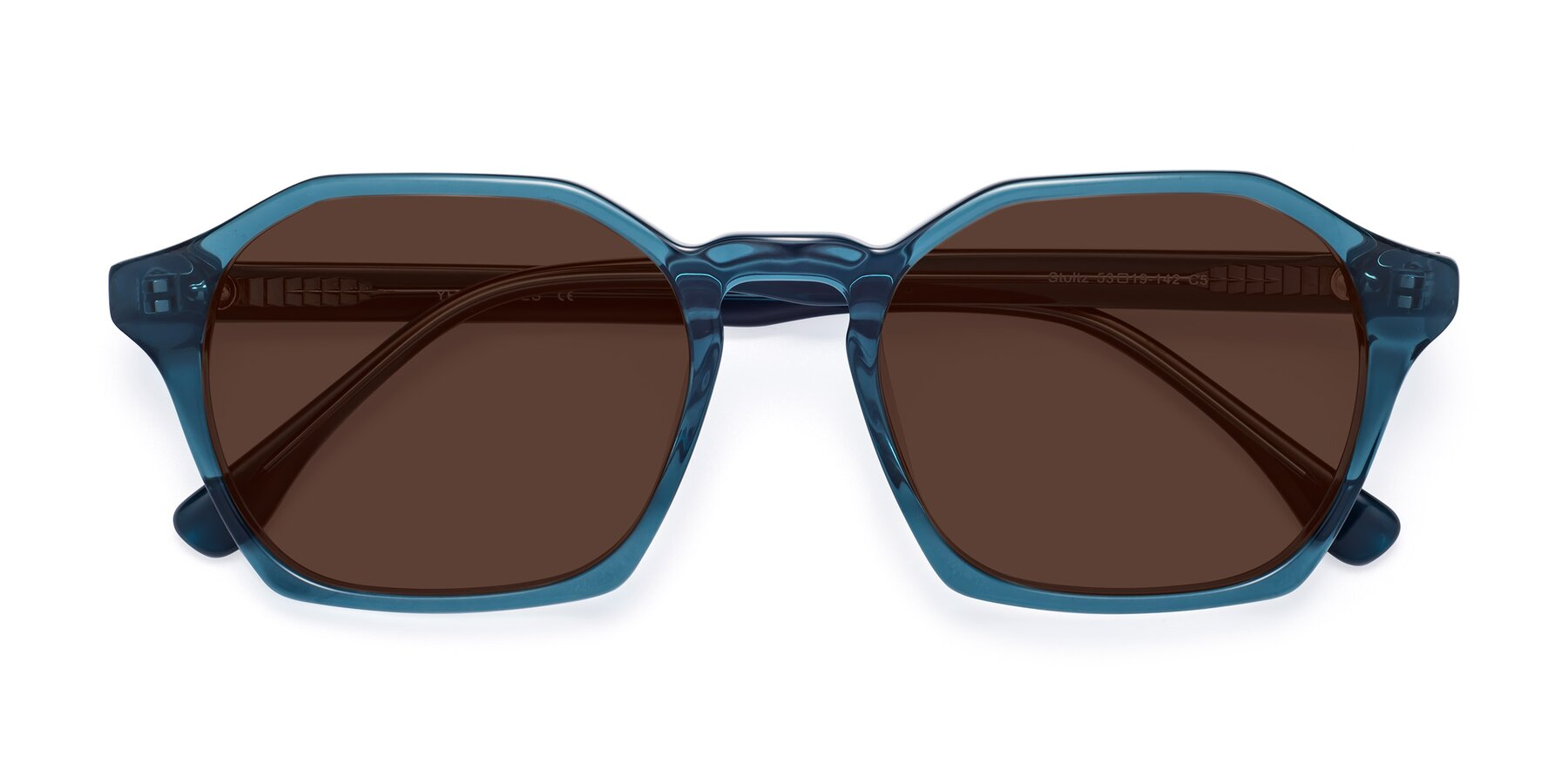 Folded Front of Stoltz in Ink Blue with Brown Tinted Lenses