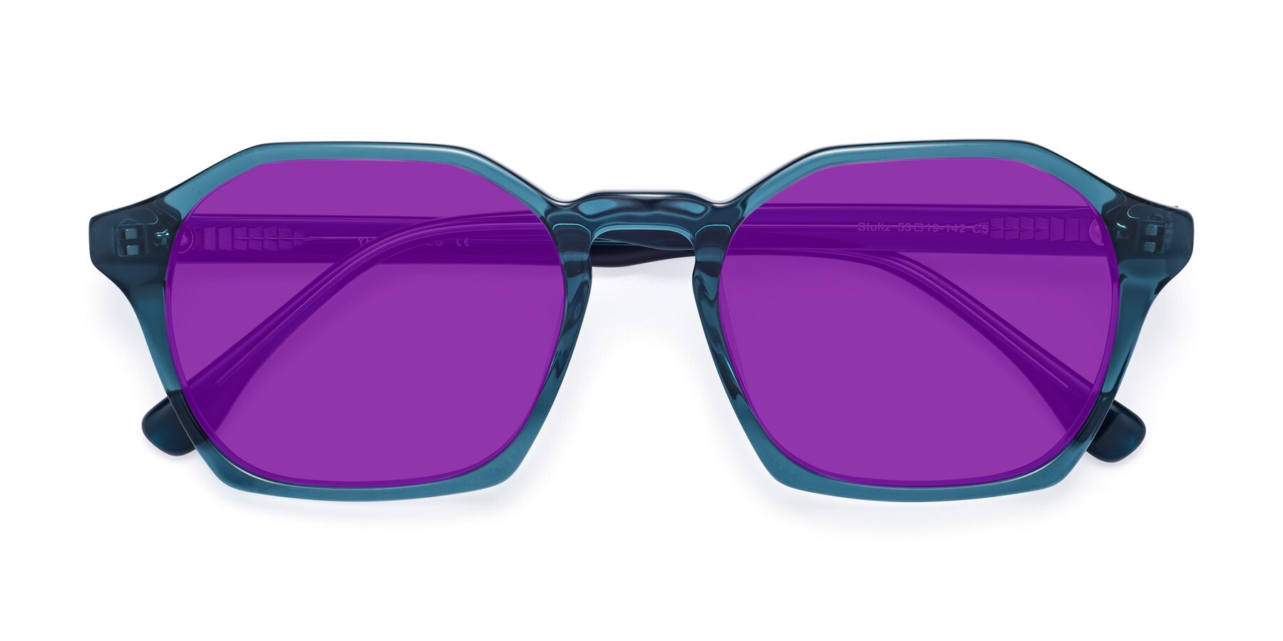 Folded Front of Stoltz in Ink Blue with Purple Tinted Lenses