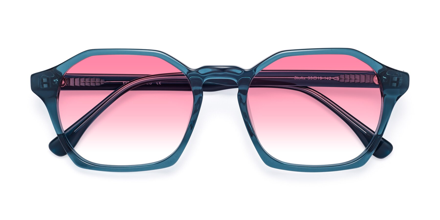 Folded Front of Stoltz in Ink Blue with Pink Gradient Lenses