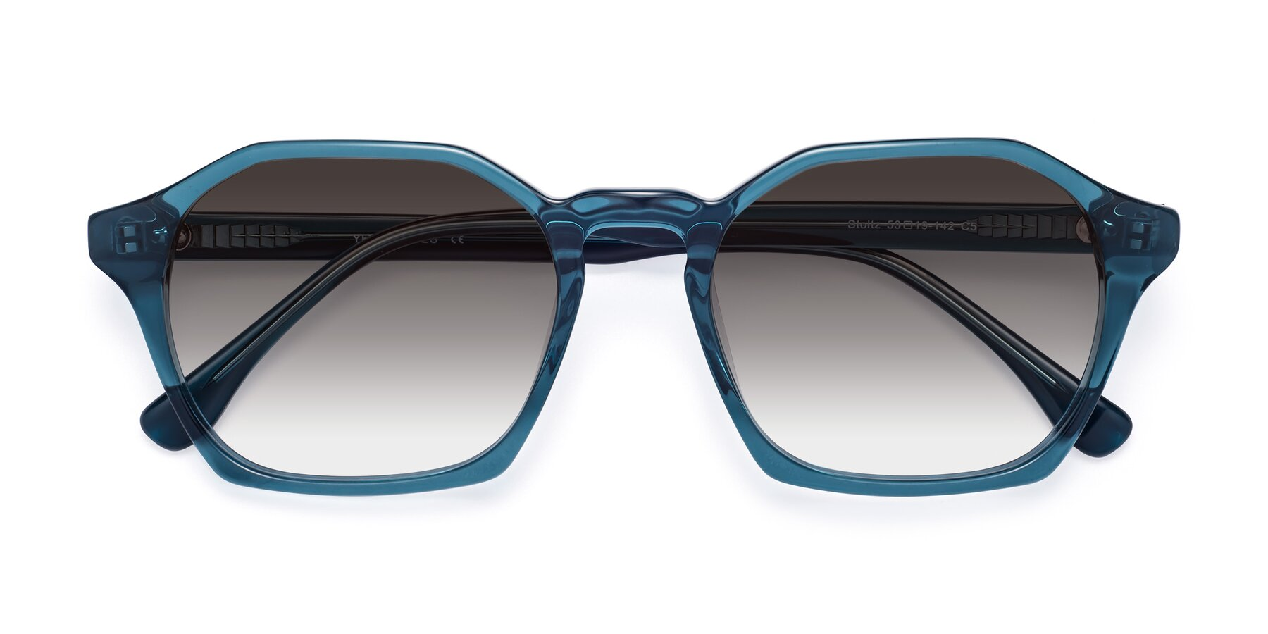 Folded Front of Stoltz in Ink Blue with Gray Gradient Lenses