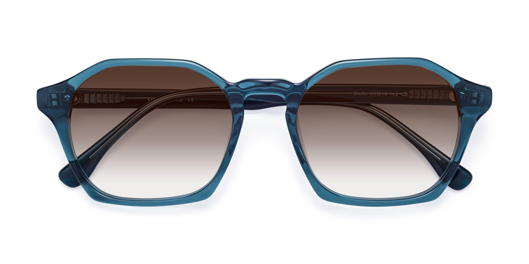 Folded Front of Stoltz in Ink Blue with Brown Gradient Lenses