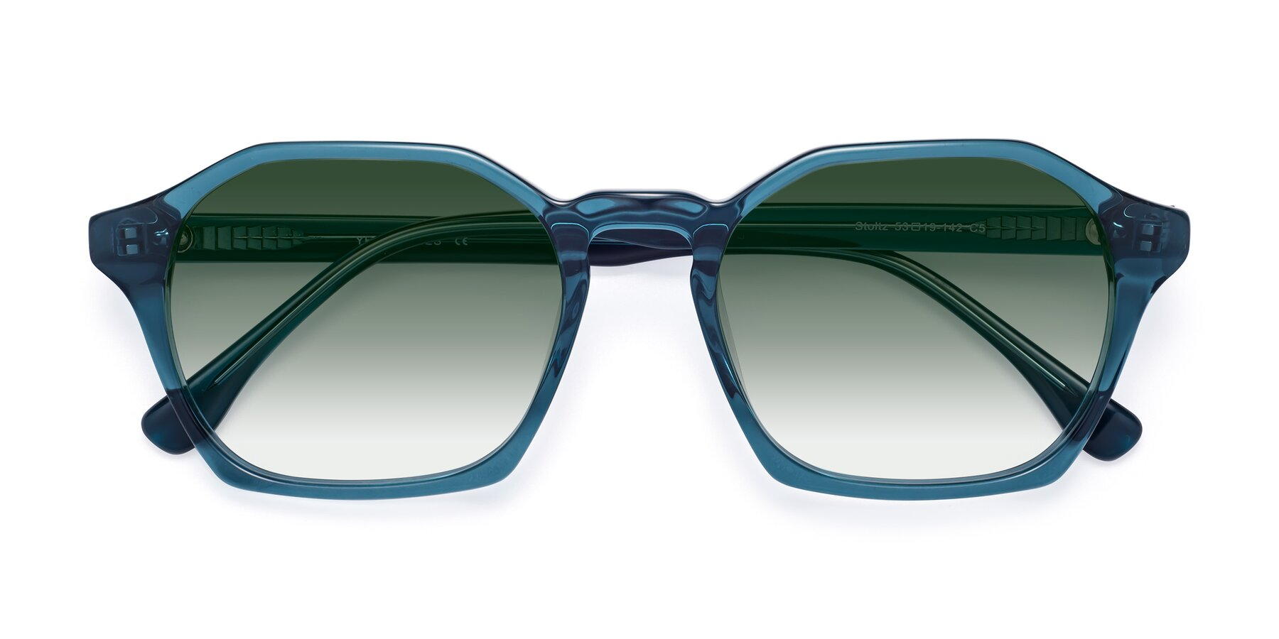 Folded Front of Stoltz in Ink Blue with Green Gradient Lenses