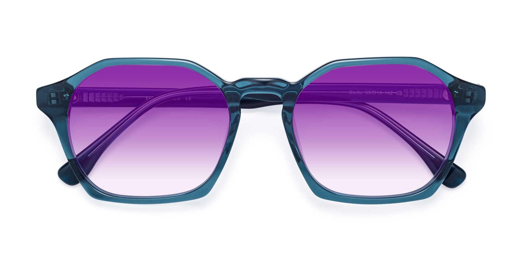 Folded Front of Stoltz in Ink Blue with Purple Gradient Lenses