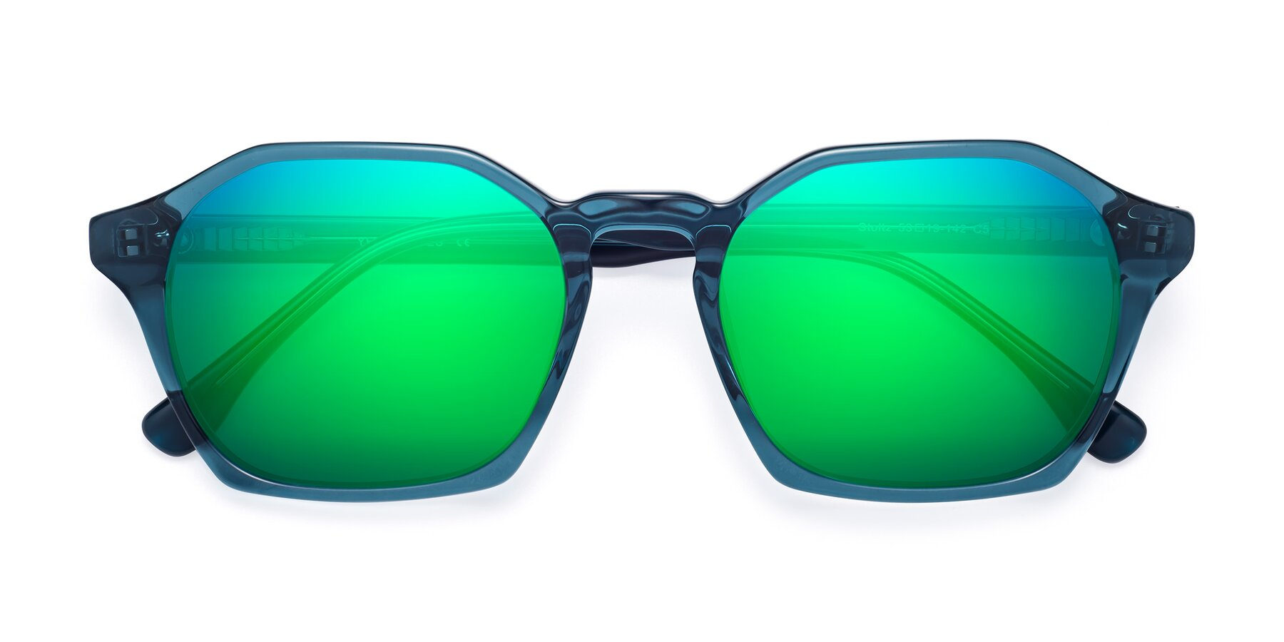 Folded Front of Stoltz in Ink Blue with Green Mirrored Lenses