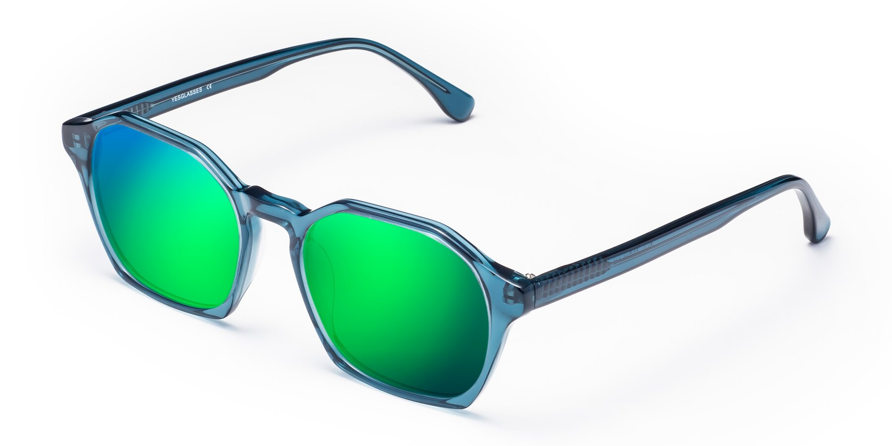Angle of Stoltz in Ink Blue with Green Mirrored Lenses
