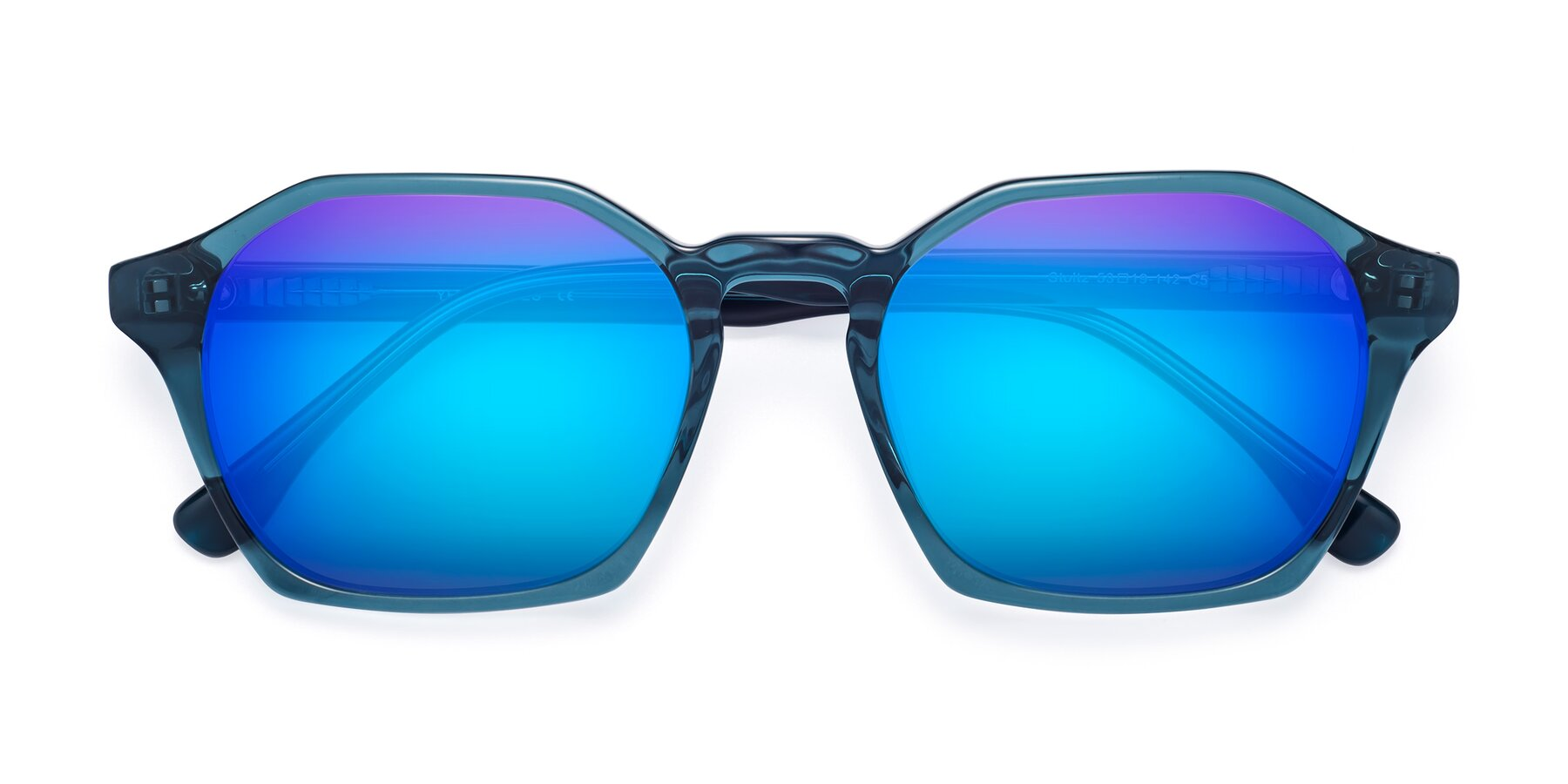 Folded Front of Stoltz in Ink Blue with Blue Mirrored Lenses