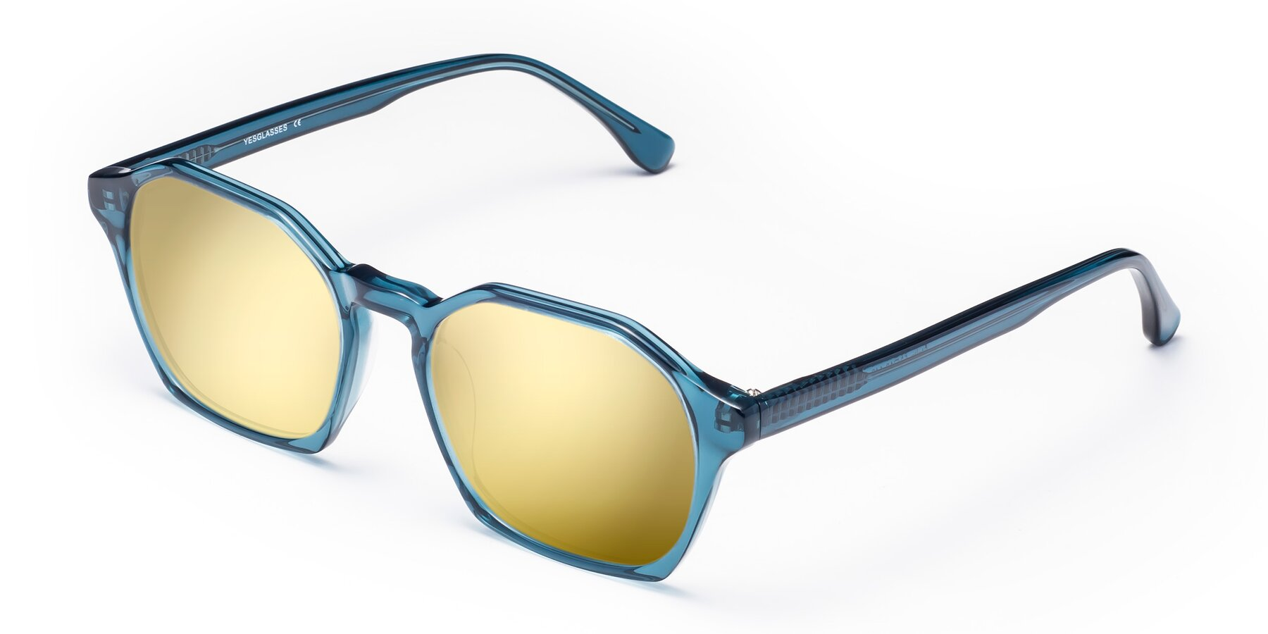 Angle of Stoltz in Ink Blue with Gold Mirrored Lenses