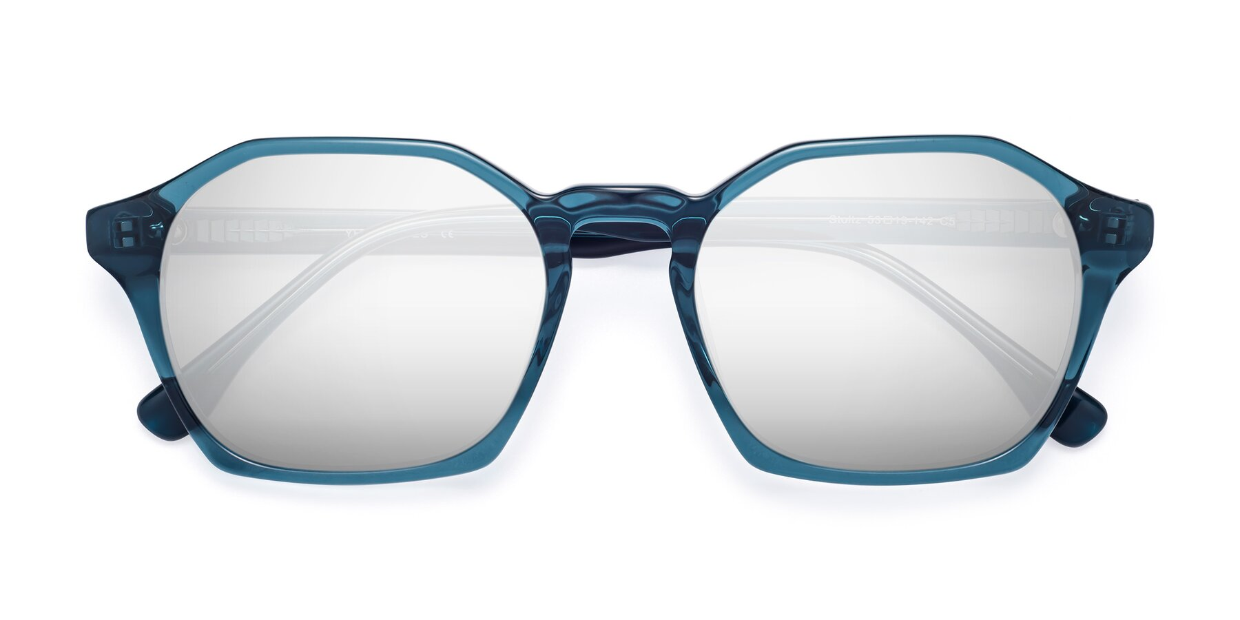 Folded Front of Stoltz in Ink Blue with Silver Mirrored Lenses