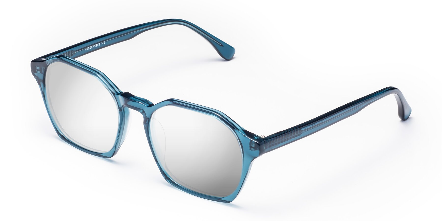 Angle of Stoltz in Ink Blue with Silver Mirrored Lenses