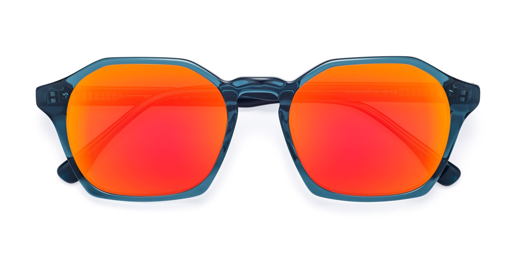Folded Front of Stoltz in Ink Blue with Red Gold Mirrored Lenses