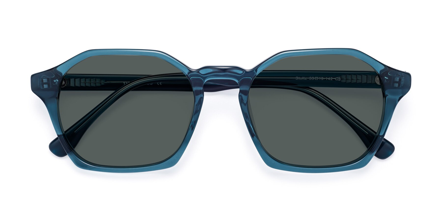 Folded Front of Stoltz in Ink Blue with Gray Polarized Lenses