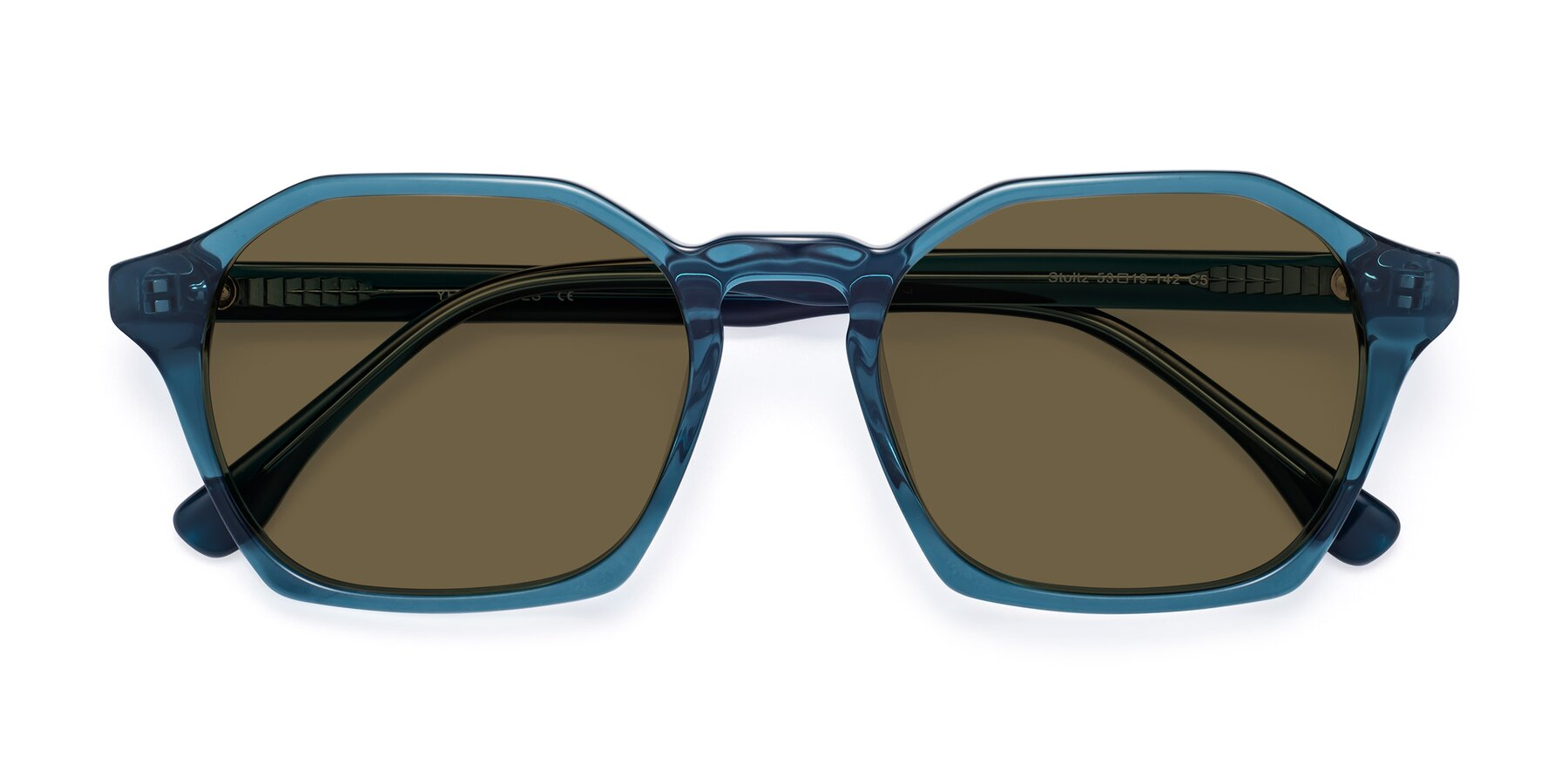 Folded Front of Stoltz in Ink Blue with Brown Polarized Lenses
