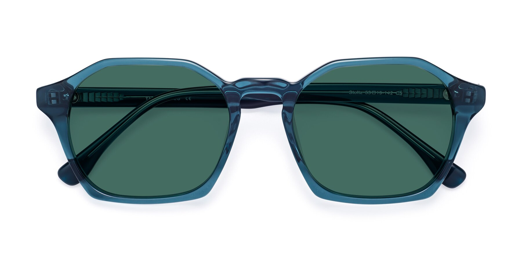 Folded Front of Stoltz in Ink Blue with Green Polarized Lenses