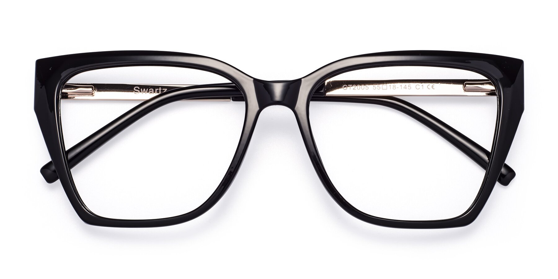 Folded Front of Swartz in Black with Clear Eyeglass Lenses