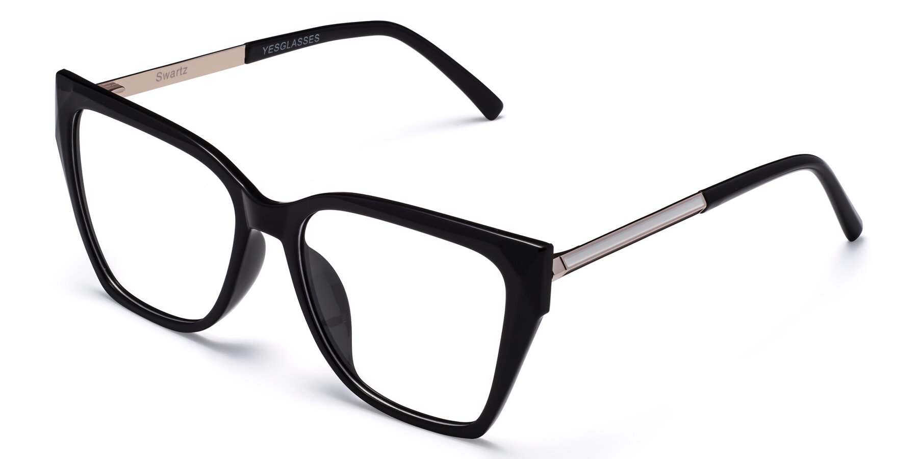 Angle of Swartz in Black with Clear Eyeglass Lenses