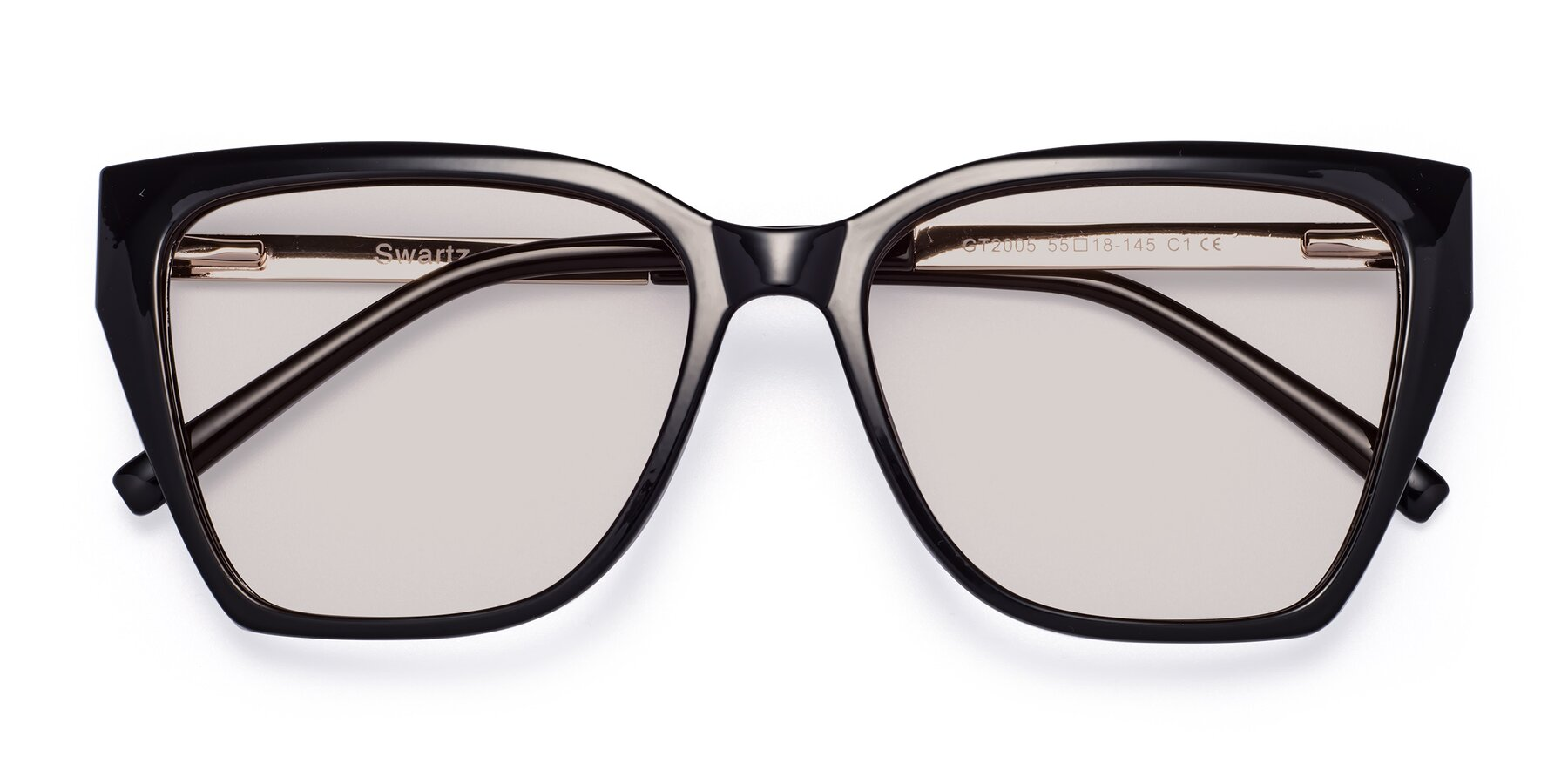 Folded Front of Swartz in Black with Light Brown Tinted Lenses
