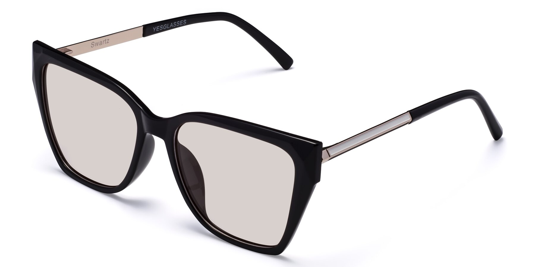 Angle of Swartz in Black with Light Brown Tinted Lenses