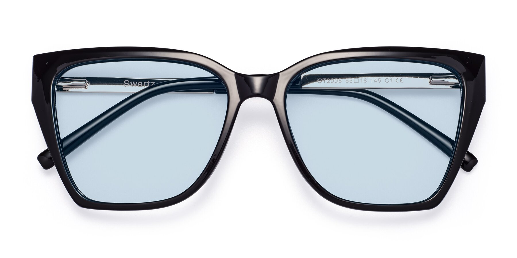 Folded Front of Swartz in Black with Light Blue Tinted Lenses