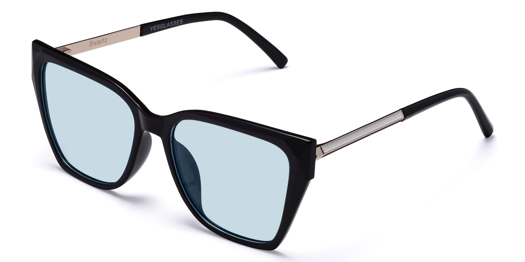 Angle of Swartz in Black with Light Blue Tinted Lenses