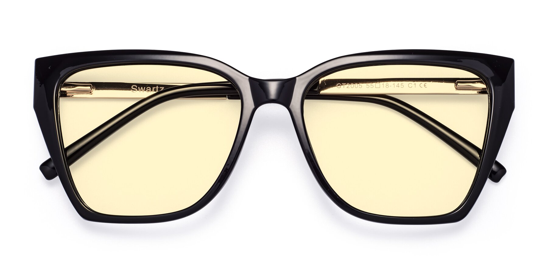 Folded Front of Swartz in Black with Light Yellow Tinted Lenses