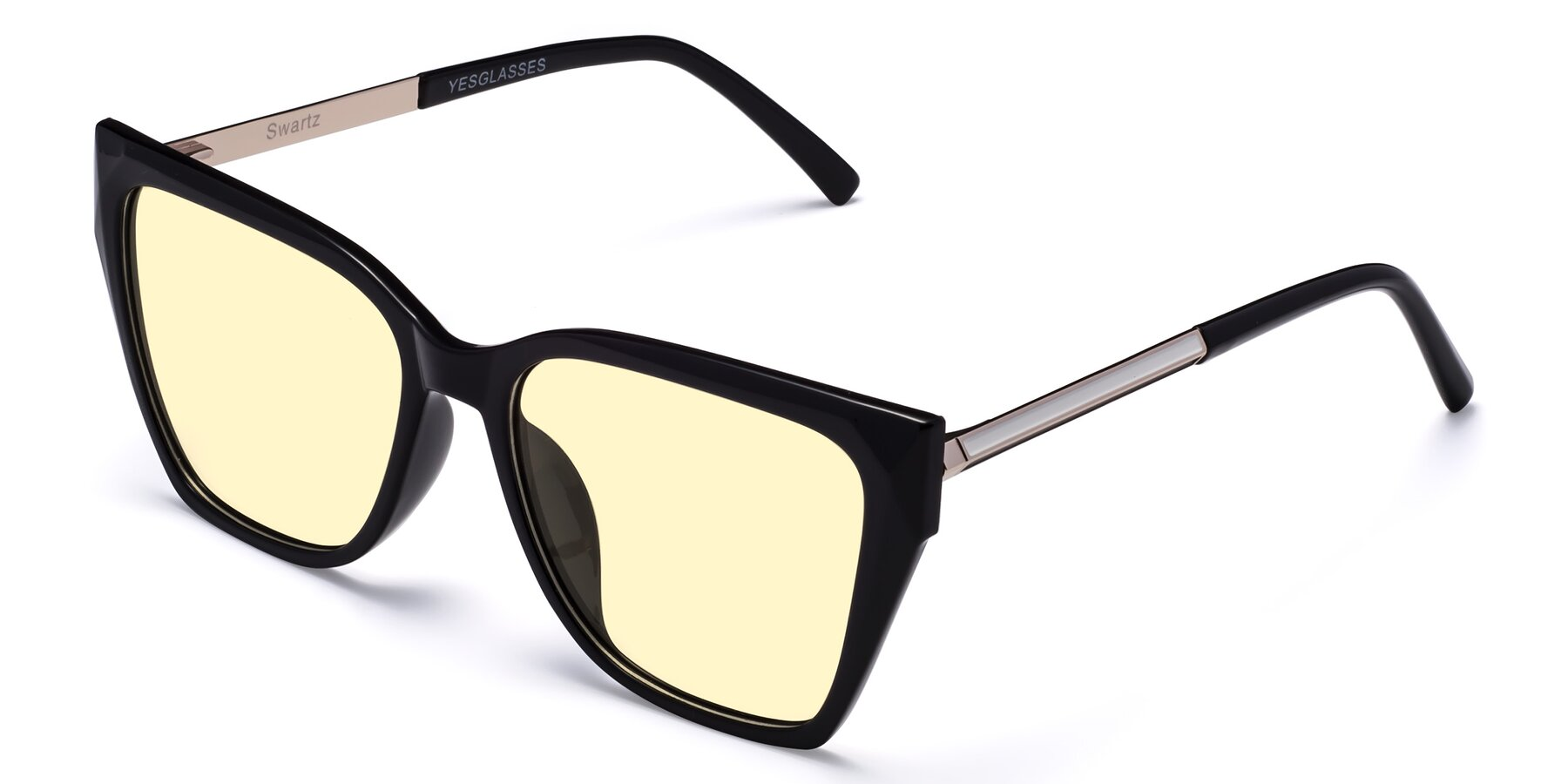 Angle of Swartz in Black with Light Yellow Tinted Lenses