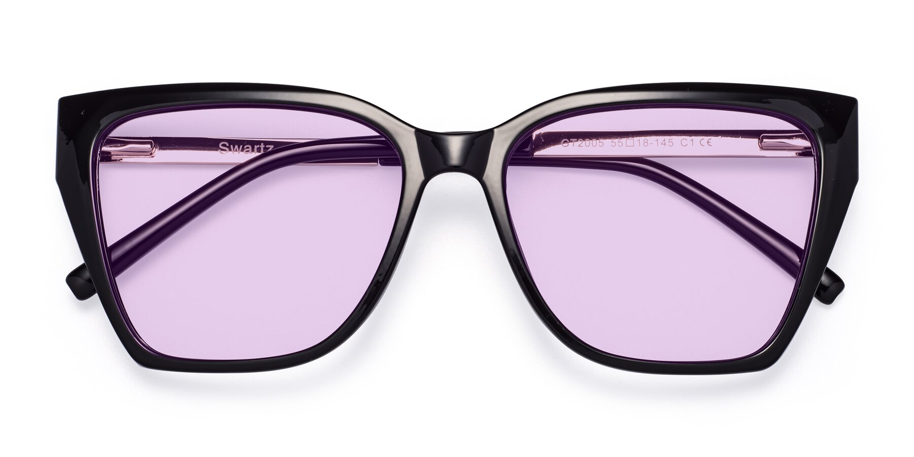 Folded Front of Swartz in Black with Light Purple Tinted Lenses