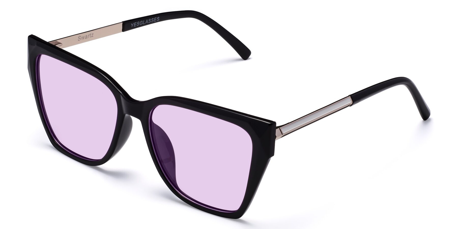Angle of Swartz in Black with Light Purple Tinted Lenses
