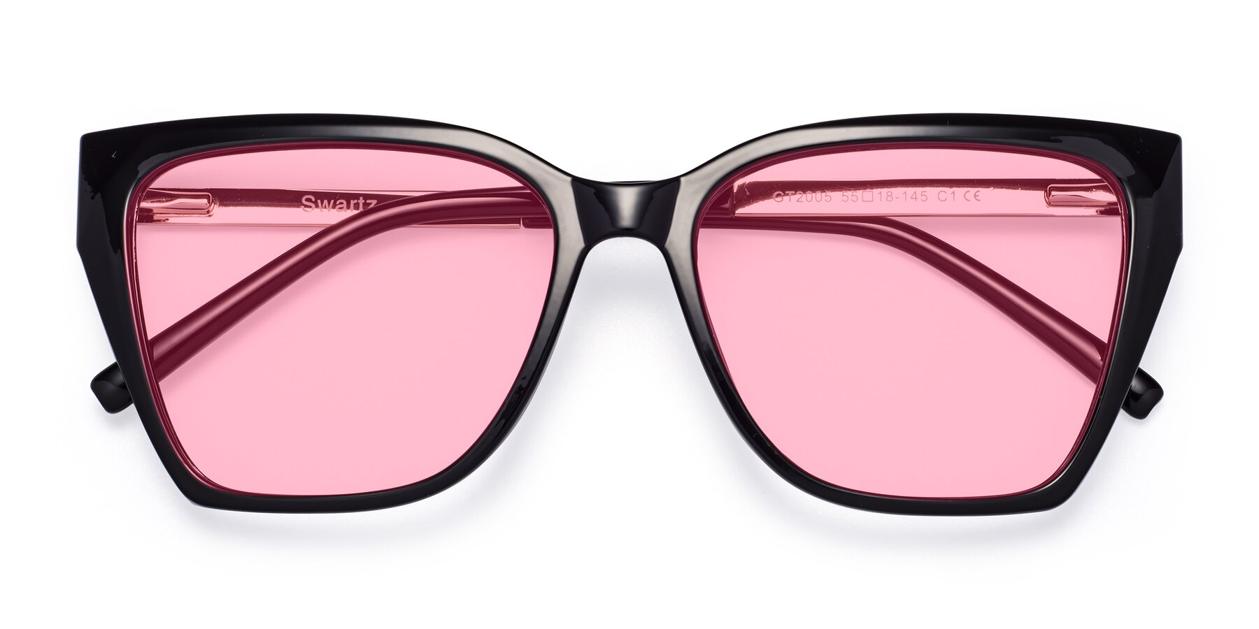 Folded Front of Swartz in Black with Medium Pink Tinted Lenses