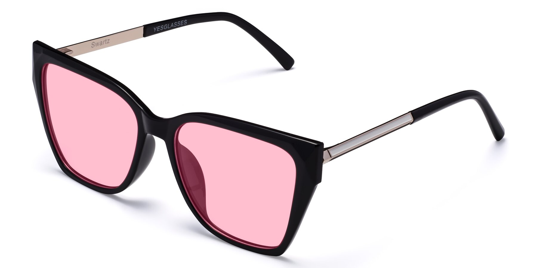 Angle of Swartz in Black with Medium Pink Tinted Lenses
