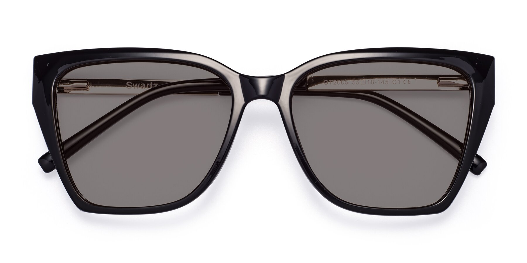 Folded Front of Swartz in Black with Medium Gray Tinted Lenses