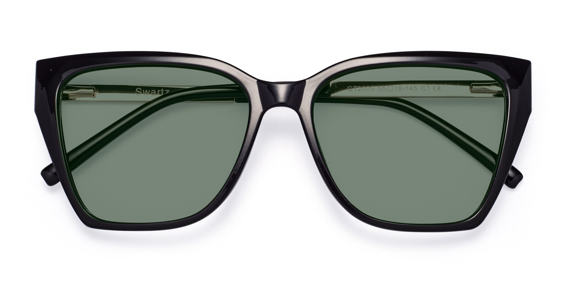 Folded Front of Swartz in Black with Medium Green Tinted Lenses