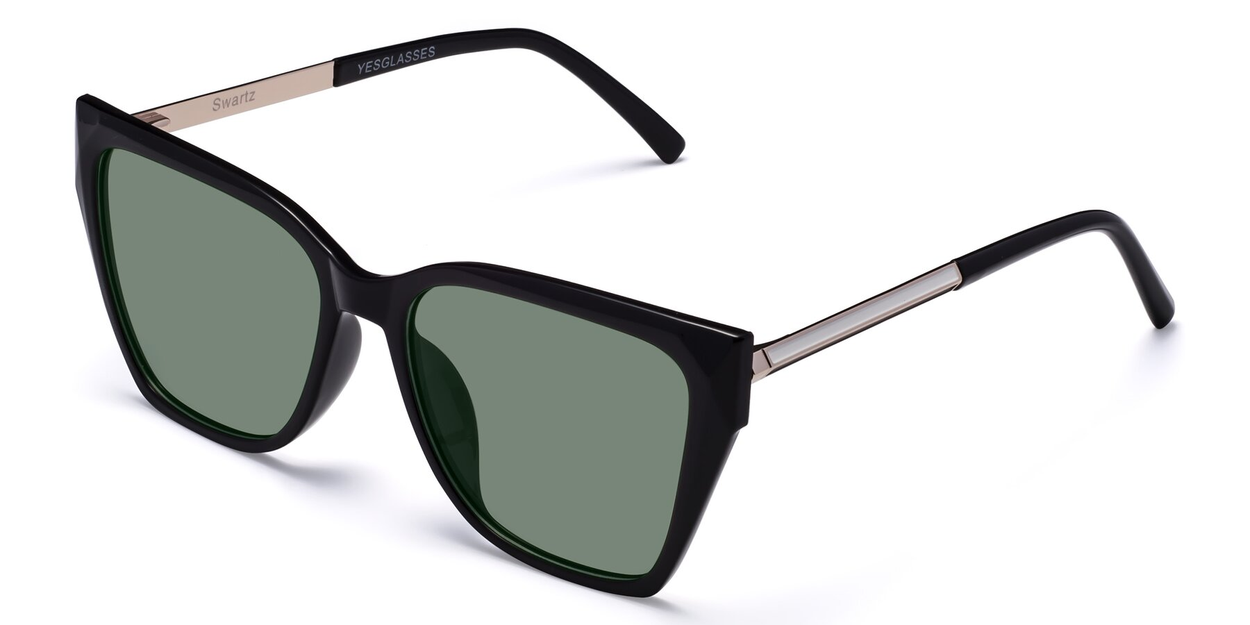 Angle of Swartz in Black with Medium Green Tinted Lenses