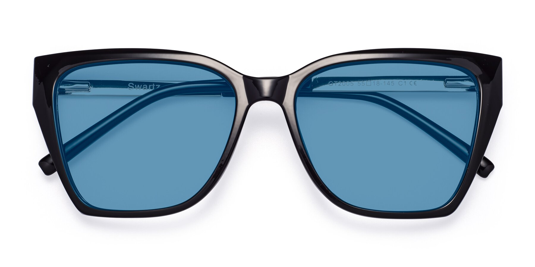 Folded Front of Swartz in Black with Medium Blue Tinted Lenses