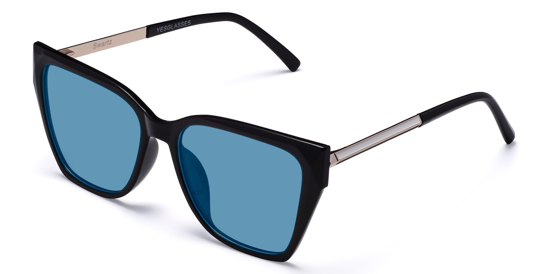 Angle of Swartz in Black with Medium Blue Tinted Lenses
