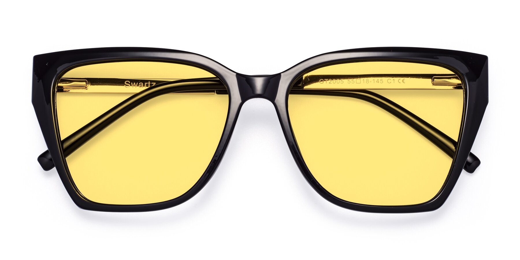 Folded Front of Swartz in Black with Medium Yellow Tinted Lenses