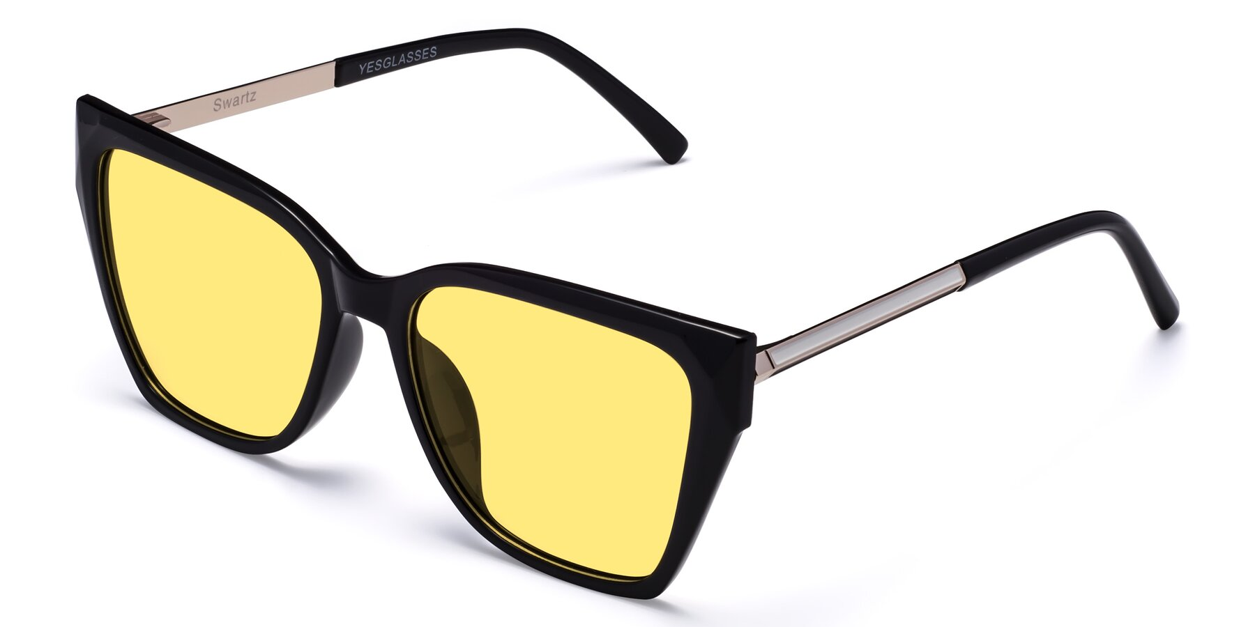 Angle of Swartz in Black with Medium Yellow Tinted Lenses