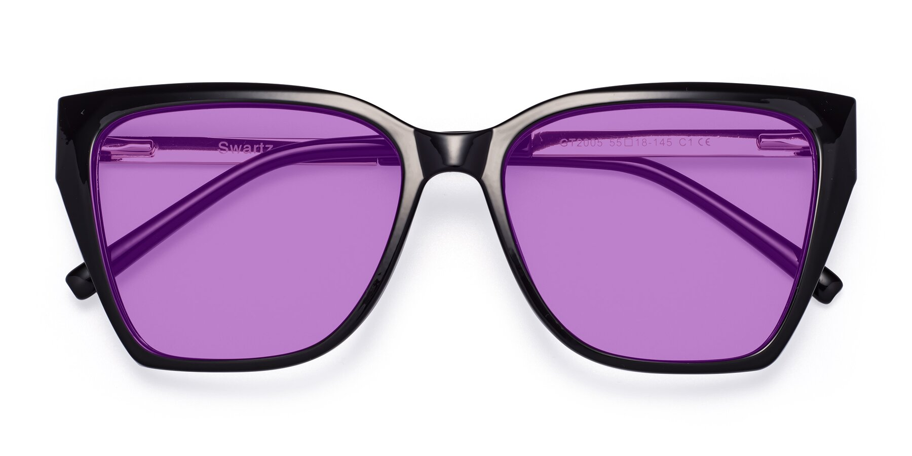 Folded Front of Swartz in Black with Medium Purple Tinted Lenses