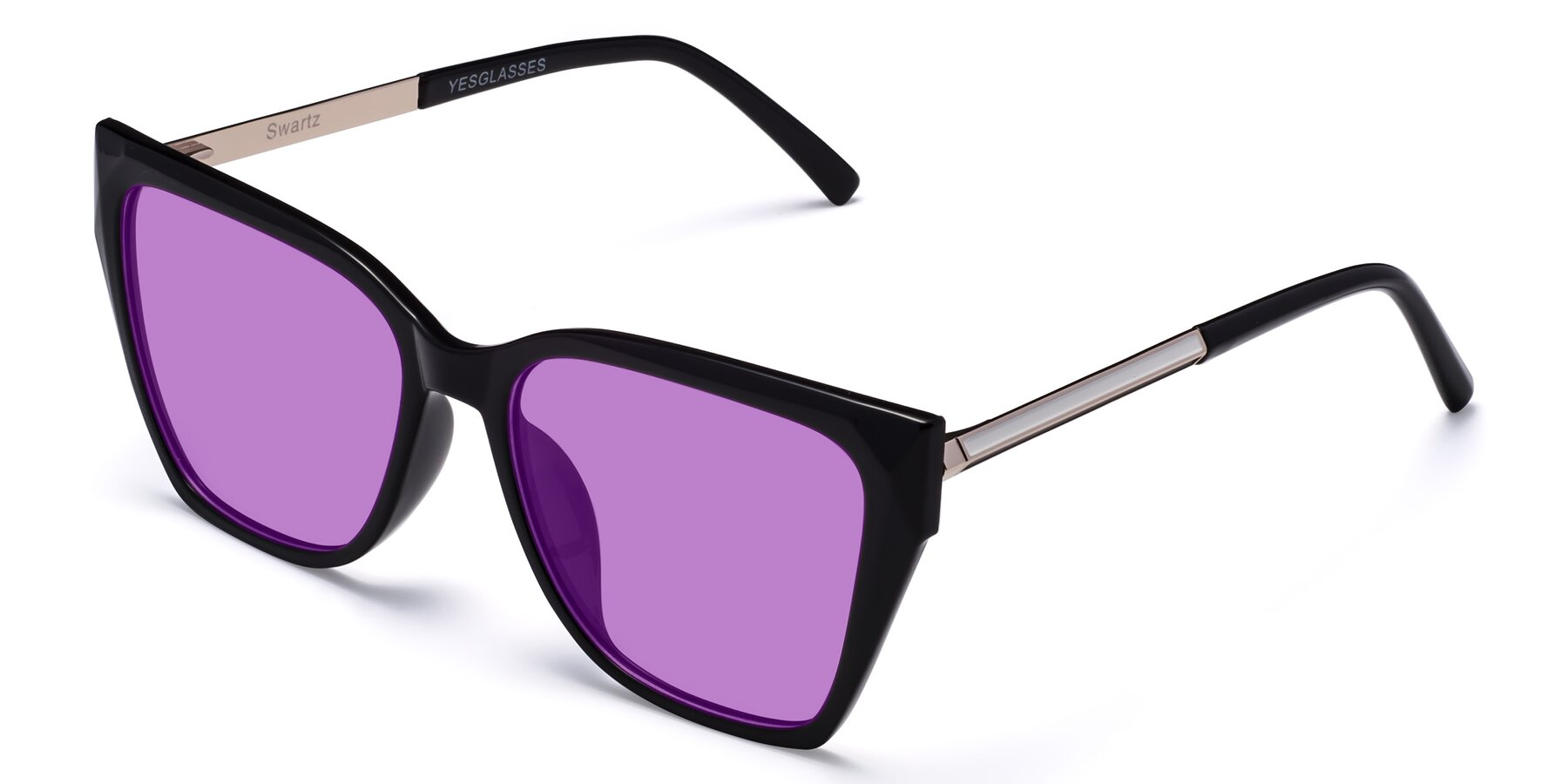 Angle of Swartz in Black with Medium Purple Tinted Lenses