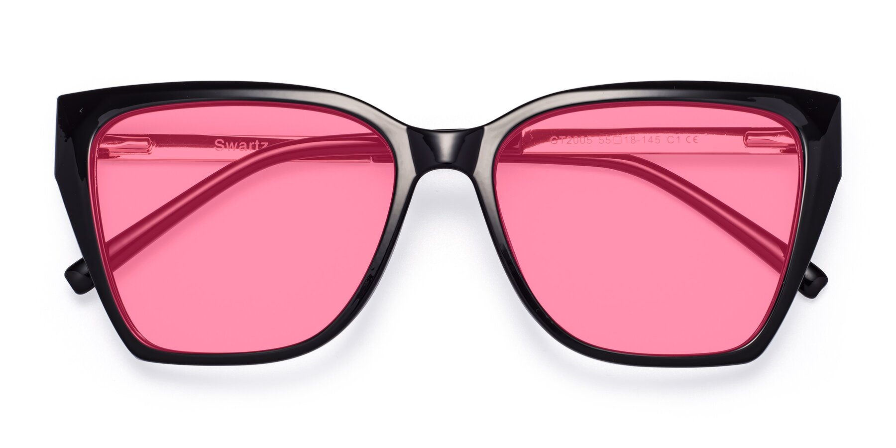 Folded Front of Swartz in Black with Pink Tinted Lenses