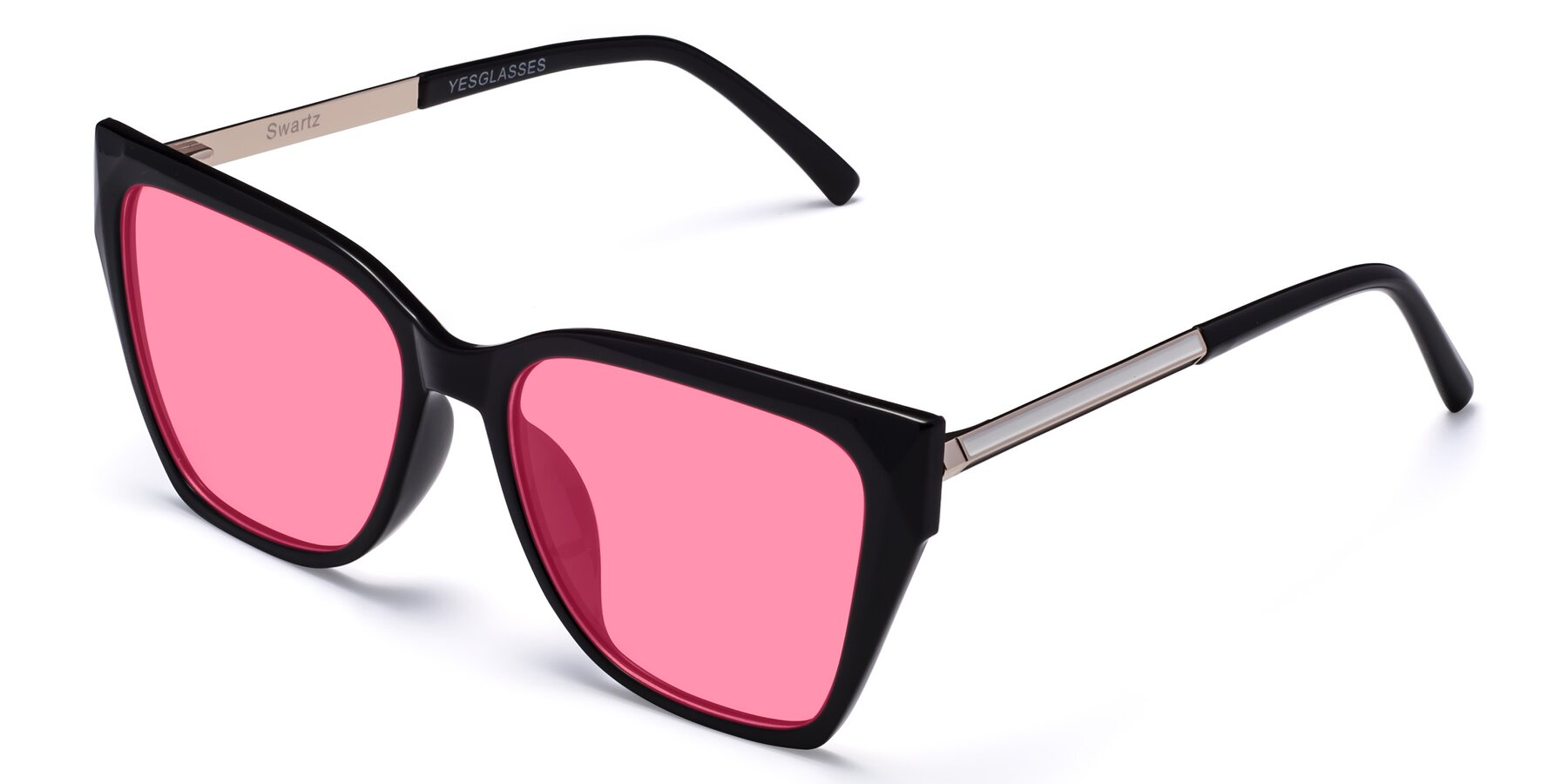 Angle of Swartz in Black with Pink Tinted Lenses